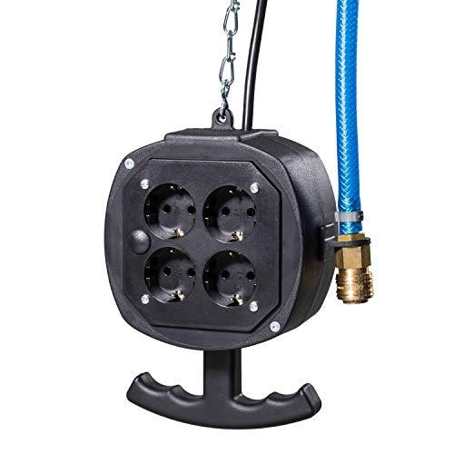 as - Schwabe Hängeverteiler Belchen – Strom- & Druckluftverteiler mit 3 m Anschlussleitungen – 4 x Schutzkontaktsteckdosen & Schutzkontaktstecker 230 V / 16 A – IP20 – Schwarz I 60972
