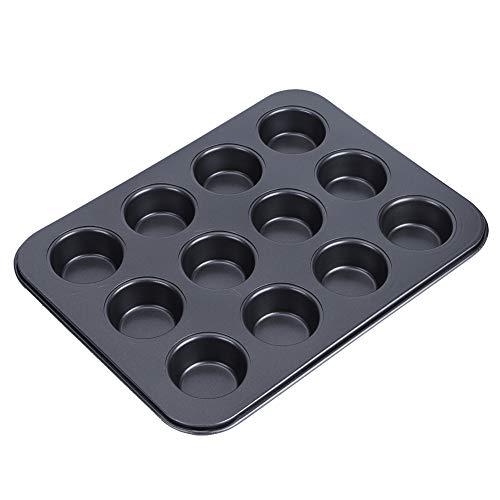 Molde para Muffins, Antiadherente, 12 Tazas, Múltiples Aplicaciones, Fácil De Hornear, Molde para Pasteles para Hornear, Utensilios De Cocina para Horno, Microondas(Pequeño Negro TG003# D)