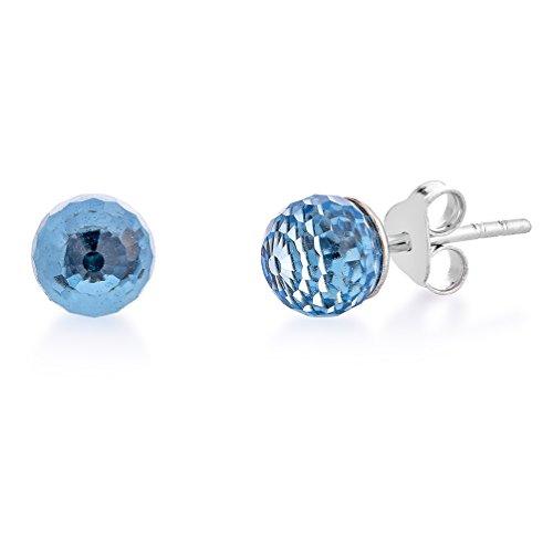 DTP Silver – Pendientes de plata con Cierre de pasador - Forma de Esfera/Bola - Plata 925 con Colgante de Cristal Swarovski Diámetro 8 mm – Color: Agua marina/Azul ligero