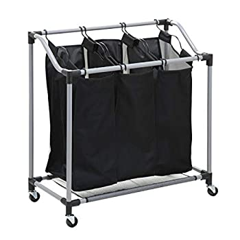Honey-Can-Do Triple Laundry Sorter with Mesh 3 Bags Steel/Black 30.75  x 15  x 32.75