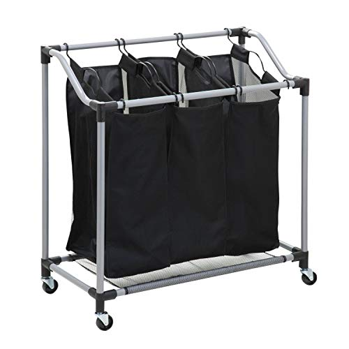 Honey-Can-Do Triple Laundry Sorter with Mesh Bags, Steel/Black, 30.75' x 15' x 32.75'