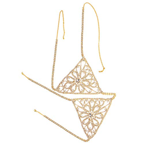 Holibanna Crystal Top Bra Chain Body Chain Rhinestone Bra Beach Chains Nightclub Body Jewelry Accessories for Women Girls 110x18cm