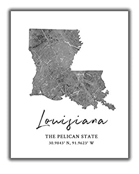 Louisiana State Map Wall Art Print - 8x10 Silhouette Decor Print with Coordinates Makes a Great Louisiana-Themed Gift Shades of Grey Black & White.
