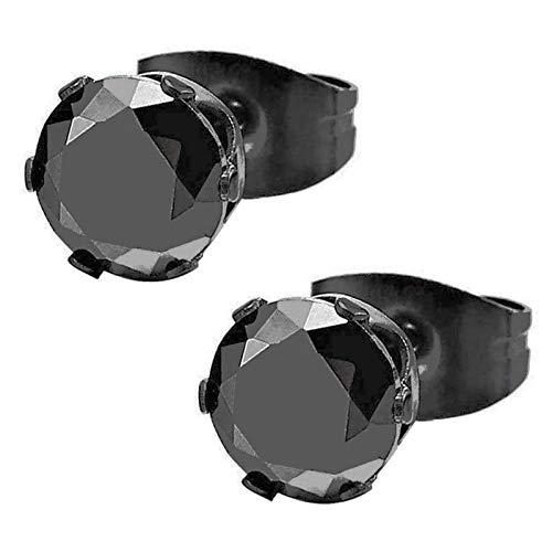 3-8MM Negro Circonita, Negro Pendientes de Hombre de Mujer, Aretes, Acero Inoxidable, 1 Par(Tamaño de La Piedra: 4mm)
