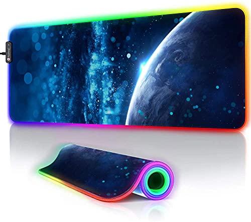 RuoCherg Alfombrillas de Ratón RGB, 800x300x4mm LED Gaming Mouse Pad, 12 Modos de Iluminación, Superficie Impermeable Base de Goma Antideslizante para Jugadores, PC y Portátiles