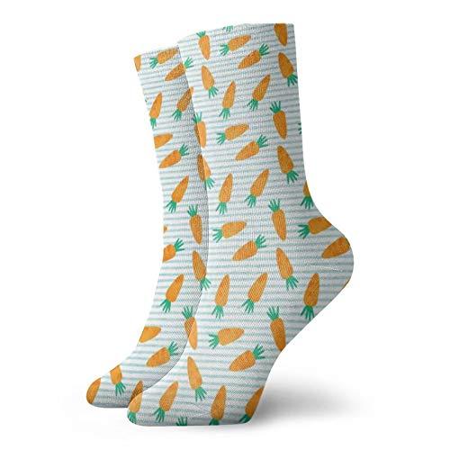 Colin-Design Karotten auf blauen Streifen Ostern Frühling Garten Personalisierte Socken Sport Athletic Strümpfe 30 cm Crew Socken für Männer Frauen