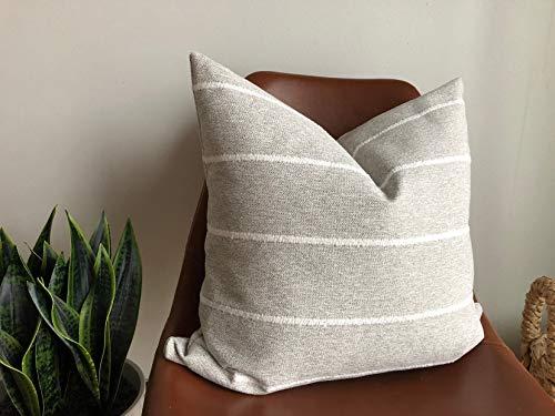 Funda de almohada moderna de tela a rayas gris crema blanco apartamento textura manta 18x18 pulgadas casa de campo clásica moderna simple elegante oficina cabina café bar hotel ropa de cama sofá decoración
