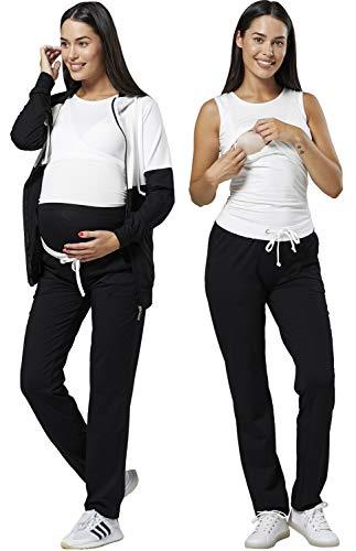 HAPPY MAMA Donne maternità Allattamento Seno Tute Impostato Jogging 3 Set 1104 (Lungo Lunghezza - Ecru & Nero, IT 40, S)