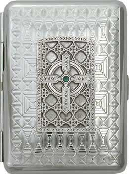 AWOL Spiritual Collection 'Gothic Celtic Cross' Slim King Rhombus Chrome Pocket Case/Cigarette Case (Gift Box Edition)