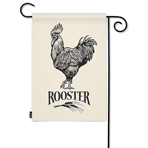 Moslion Rooster Garden Flag Vintage Farm Animal Poultry Cock Chicken Wheat Home Flags 12x18 Inch Double-Sided Banner Welcome Yard Flag Outdoor Decor. Lawn Villa Beige