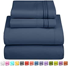 Nestl Deep Pocket Split King Sheets: 5 Piece Split King Size Bed Sheets with Fitted Sheet, Flat Sheet, Pillow Cases - Extra Soft Bedsheet Set with Deep Pockets for Split King Mattress - Navy Blue