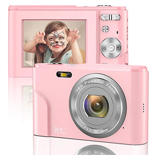 Digital Camera 1080P FHD Mini Video Camera 36MP LCD Screen Rechargeable Students Compact Camera...