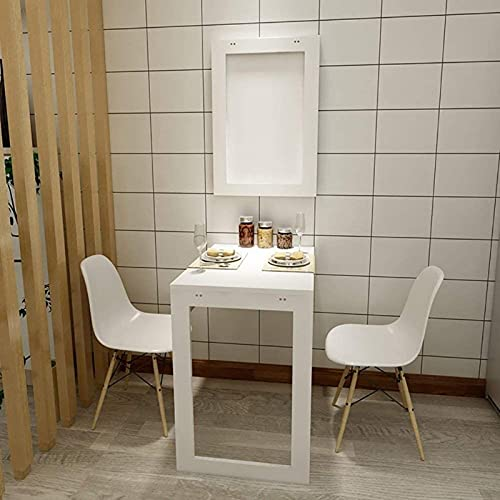 OUWTE Household Wall-Mounted Computer Desk -Folding Wall Table Wood Drop-Leaf Desk Kitchen Dining Table Computer Desk Learning Table Wall-Mounted Book Table Collapsible Wall Decoration/Bla