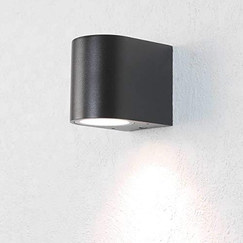 Design Außenwandleuchte AALBORG Down Strahler Schwarz halbrund IP44 GU10 Beleuchtung Terrasse Balkon