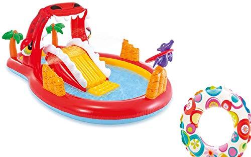 Bavaria Home Style Collection Aufblasbares Playcenter Spielcenter Wasserspielzeug Dino Kinder-Spiel-Pool mit Wasserrutsche und Wasser Sprüher XL ab 3 Jahren Spielzeug für Garten Outdoor