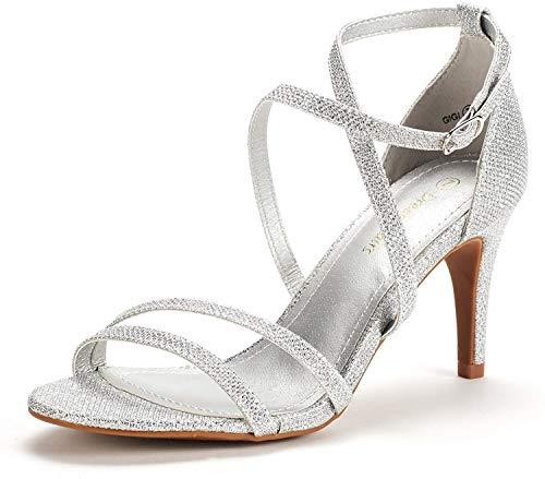 DREAM PAIRS Women's Gigi Silver Glitter Fashion Stilettos Open Toe Pump Heeled Sandals Size 7 B(M) US