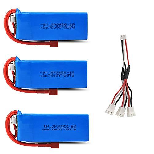 Dilezhiwanjuwu Batería para 144001 Juguetes Coche 7.4V 3000mAh Lipo Batería para RC Coche Juguetes Repuestos 7.4V-3B C