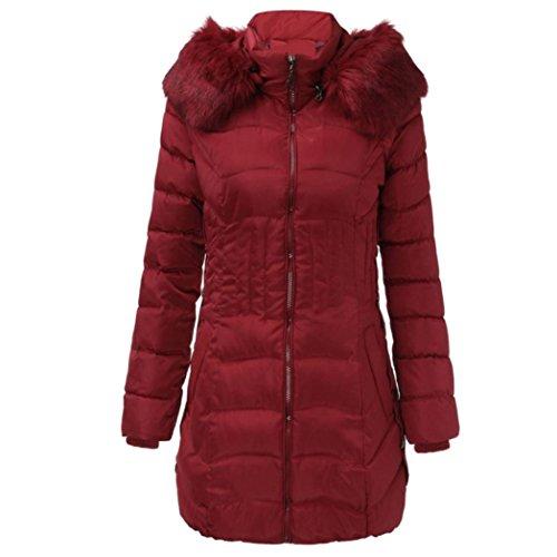 TUDUZ Damen Daunenjacke, Damen Jacke Lang Steppjacke Winterjacke Winter-Mantel mit Kapuze Trenchcoat (Wein, XXL)