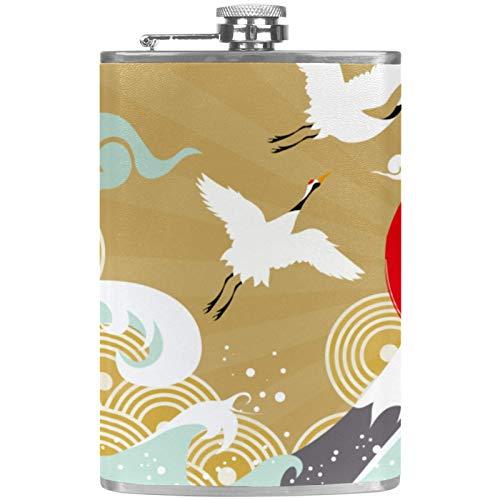 Petaca de cuero con bolsillo para whisky con embudo de mano para camping, pesca, barbacoa, fiesta, bar, bebederos, botella de vino, retro japonesa, grulla ondulada, nubes y sol