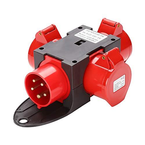 Hengda Adapter Stromverteiler 3 x CEE 400V/16A 5 Polig CEE-Steckdose IP44 Spritzwassergeschützt Mit Sicherheitsklappdeckeln Für Baustelle