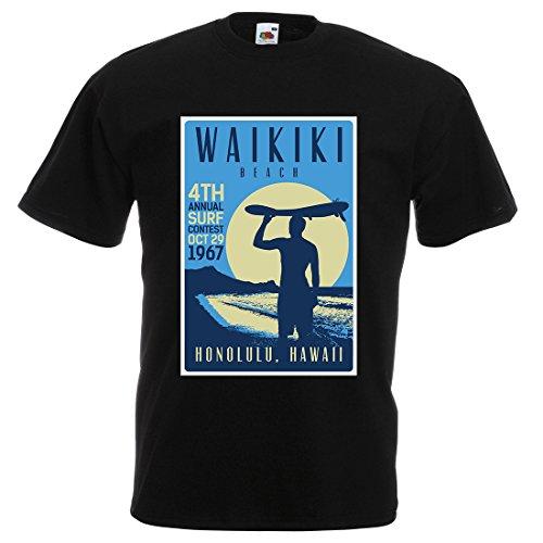 T-shirt de surf hawaïen pour homme - Noir - Taille M