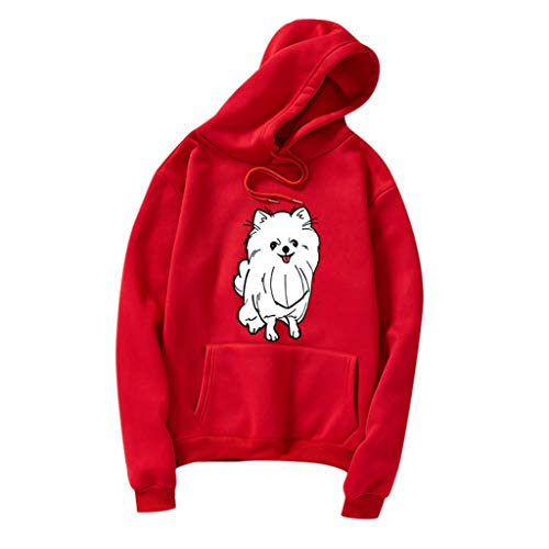 Holzkary Women Hoodies-Tops Cute Printed Sweatshirt Long Sleeve Drawstring Pullover Blouse with Pocket(2XL.Red-1)