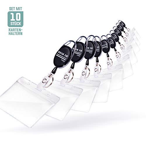 Ypsie Ausweishalter [10er Set] für 2 Karten, bruchfest + wasserfest + Schlüsselring + Clip & Karabiner, ausziehbar (Jojo) | Kartenhalter, Ausweishülle