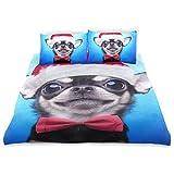 SUNOP Bettwaren & Bettwäsche, Bettlaken & Kissenbezüge, Spannbetttücher für Doppelbett, 100% gebürstete Baumwolle, Biber, Bettbezug und 2 Kissenbezüge, Chihuahua-Hund