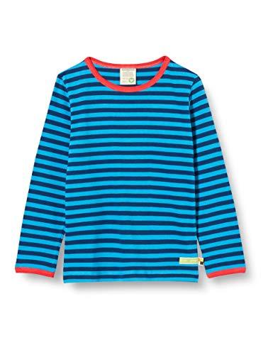 loud + proud Kinder-Unisex Ringel T-Shirt, Ultramarine/Aqua, 122/128