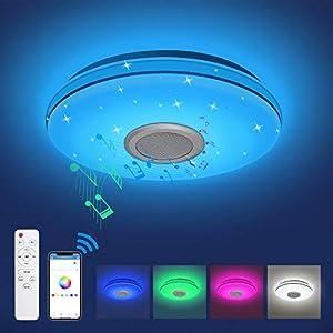 Lámpara LED de Techo 24W, Plafón Musical RGB Regulable, Lámpara Techo Infantil con Altavoz bluetooth, Control Remoto / APP, 2800LM, IP54, Luz LED de Techo, para Sala de Estar, Dormitorio, Habitación