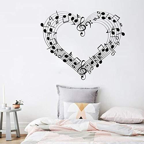 XCSJX Etiqueta de la Pared de la partitura Musical Notas calcomanía de Vinilo Amor corazón decoración del hogar Dormitorio Creativo decoración de la Sala de Estar músico 47x57cm