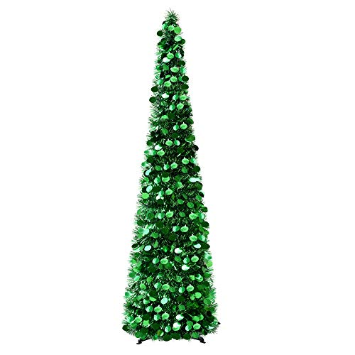 Fonder Mols 5ft Collapsible Artificial Christmas Tree, Pop Up Green Tinsel Coastal Christmas Tree for Holiday Decorations