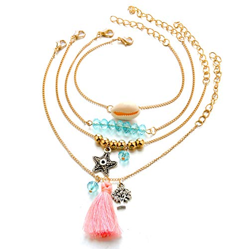 Set bestaande uit 4 armbanden voor dames, armband verguld met 14 K goud.