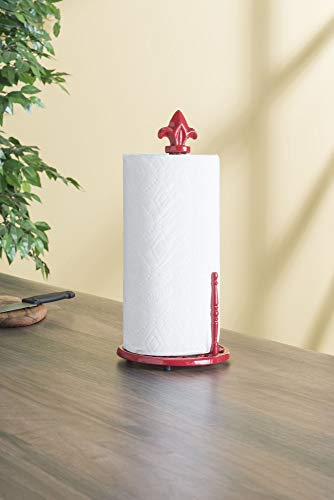 Home Basics Weighted Cast Iron Steel Fleur De Lis Paper Towel Holder and Dispenser Stand, Red