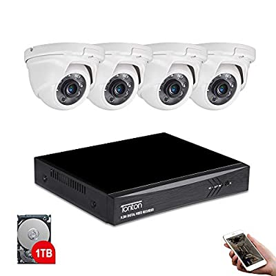 Tonton 8CH Full HD 1080P Expandable Security Camera System, 5-in-1 Surveillance DVR with 1TB Hard Drive and (4) 2.0MP Waterproof Outdoor Indoor Dome Camera, Free APP Remote Viewing and Email Alert