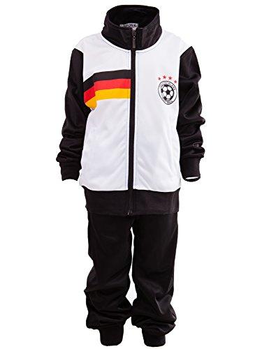 24brands Kinder Jungen Fußball Set Trainings Anzug Polyesteranzug Trikot Deutschland Brasilien sportanzug Ländertrikot TKF2941, Größe:146;Farbe:Deutschland
