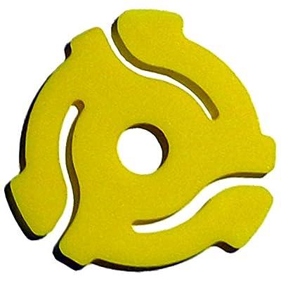 "(20 Pack) Yellow Plastic 45 RPM 7 Inch Vinyl Record Adaptor - 7"" Insert"