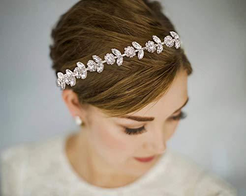 TOPQUEEN Perle Braut Haarreifen, Strass Brautschmuck Haarband, Hochzeit Stirnbänder, Haarschmuck Tiara für Frauen und Mädchen (Silver-Organza-Weiß)