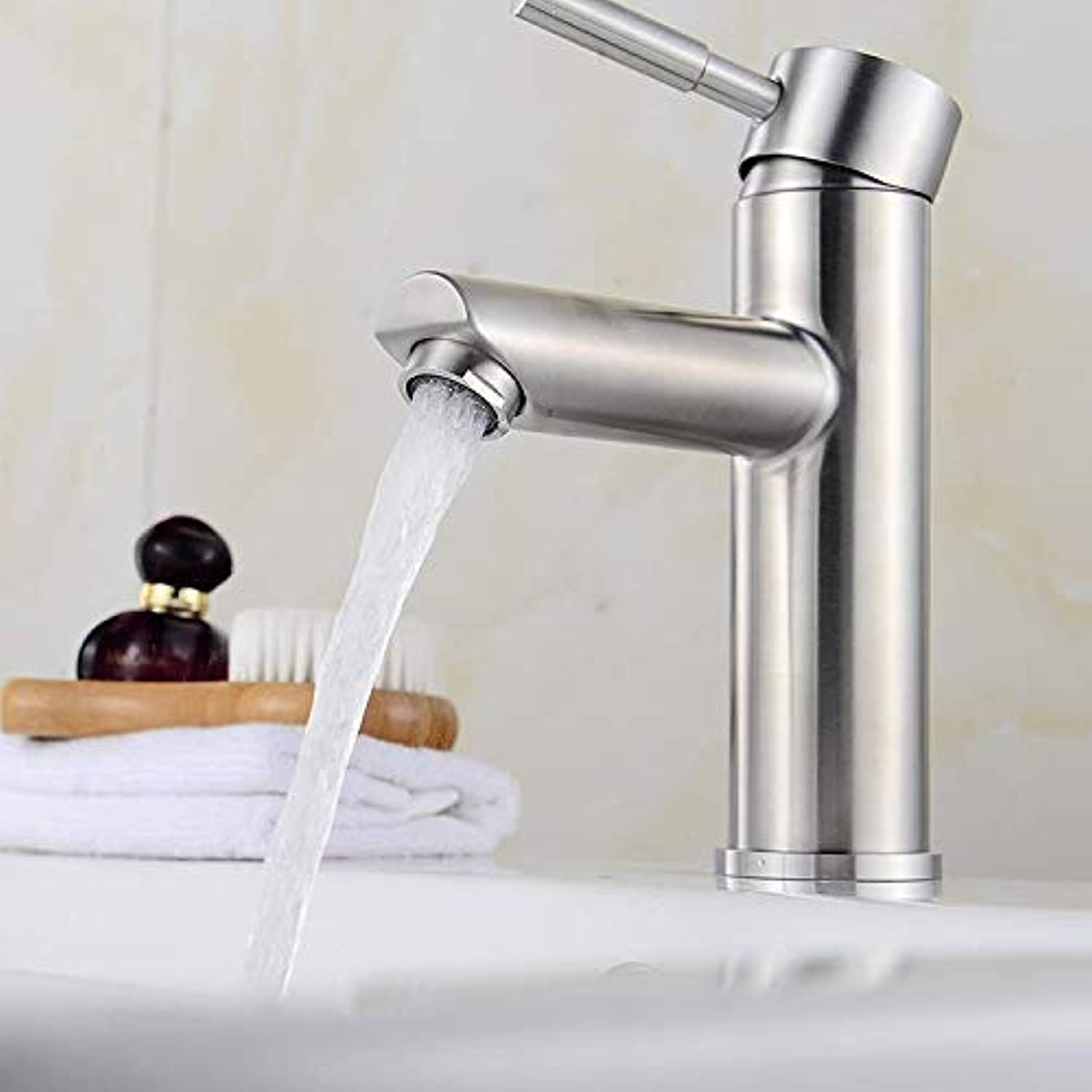New Sus304 Stainless Steel Weight Thickening Basin Single Hole Hot and Cold Water Faucet