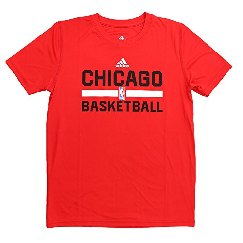 adidas Chicago Bulls S/S ClimaLite Pratica t-Shirt NBA Fan Basket–Youth Kids, Uomo, Red
