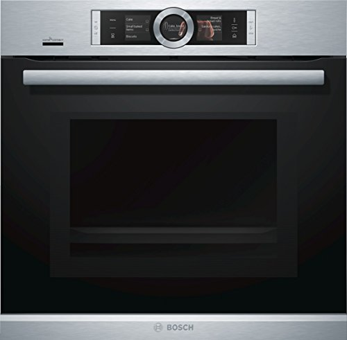 Bosch HNG6764S6 Serie 8 Einbau-Backofen mit Mikrowellen- & Dampffunktion / 67 L / 1 L Wassertank / 800 W / Edelstahl / Klapptür / TFT-Display / 14 Beheizungsarten /Bosch Assist /Pyrolyse /Home Connect