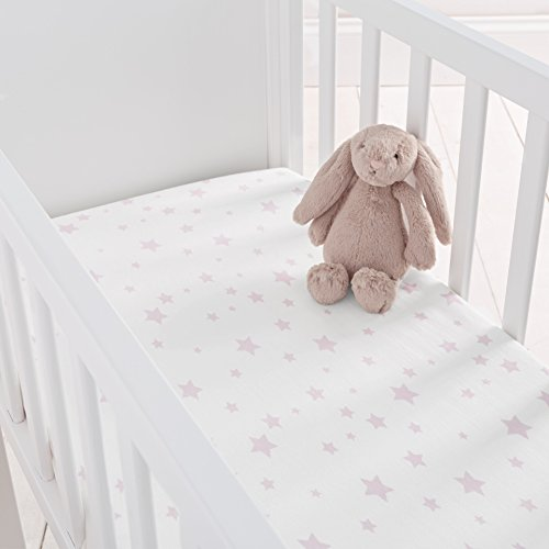 Silentnight Safe Nights Crib Fitted Sheets, Pink Star, Pack of 2