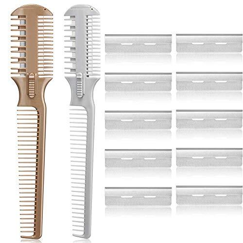 Haarschneider Kamm, Effilierer Effiliermesser mit 10 Ersatzklingen, Double Side Hair Schneiden Trimmer Kammzum Ausdünnen und Schneiden von Haaren