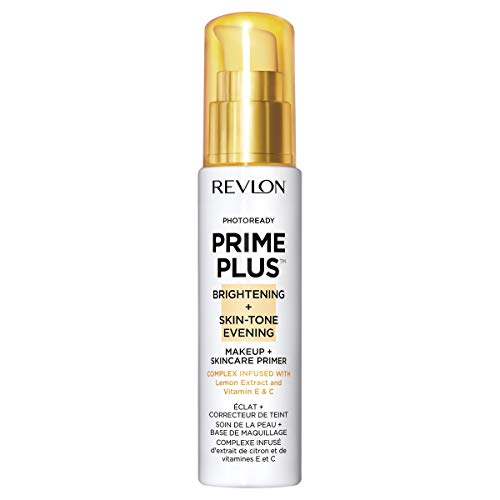 Revlon Prime Plus Makeup & Skincare Primer, Brightening and Skin-Tone Evening, Formulated with Vitamin C and Lactic Acid, 1 oz
