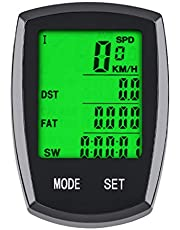サイクルコンピューター 自転車コンピューター サイクルメーター スピードメーター ワイヤレス 走行距離計 走行時間計 バックライト ケイデンス スピード 距離 気温 消費カロリー計算