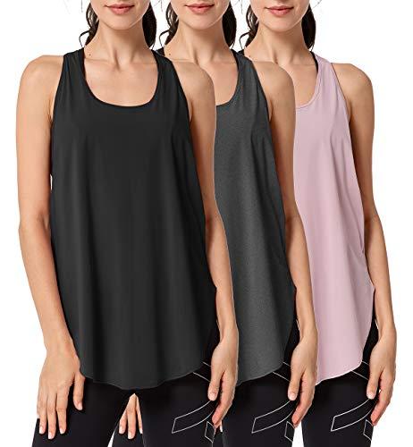Yvette Pack de 3 Camisetas sin Mangas Deportivas para Mujer, Camiseta Deportiva con Espalda Cruzada, Camiseta Deportiva para Correr