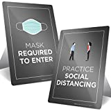 Social Distancing Sign, Face Mask Required Sign, Combo Pack (2 Signs) Countertop Signs with Fold Out Easel, 10x7 Inches, Rust Free .040 Aluminum, Indoor/Outdoor Use, Made in USA by SIGO SIGNS