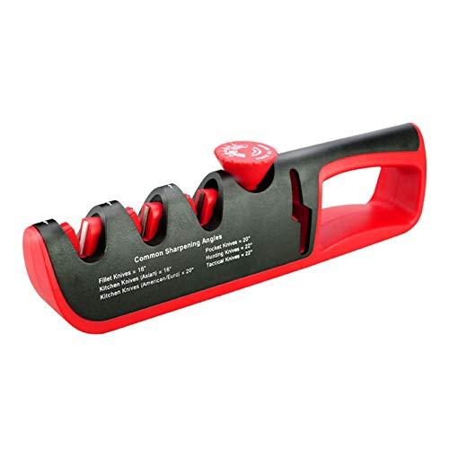 YI-YU Knife Sharpener Scissors Sharpening Stone Angle Adjustment 4 Stages Professional Kitchen Grinder Knives Whetstone Sharpener Tool Knife Sharpener Whetstone (Color : Black RED)