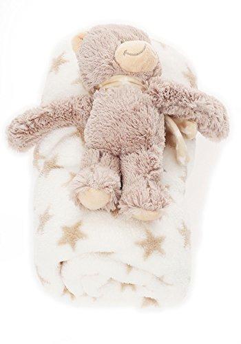 bébé Couverture douce avec Animal en peluche chaud couverture BF 000033 - Blanc / Etoile