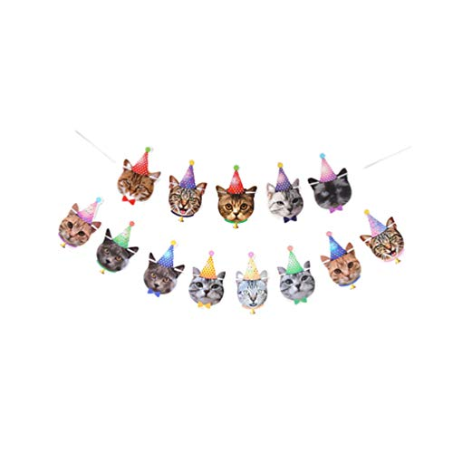 Amosfun Cat Birthday Banner Cat Theme Party Bunting Garland Cat Face Banners Pull Flag for Baby Shower Kitten Party Decoration